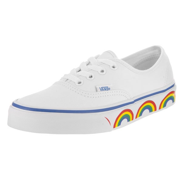 cb9c7daecfce Shop Vans Unisex Authentic Rainbow Tape White Canvas Skate Shoe - Free  Shipping Today - Overstock - 14457982