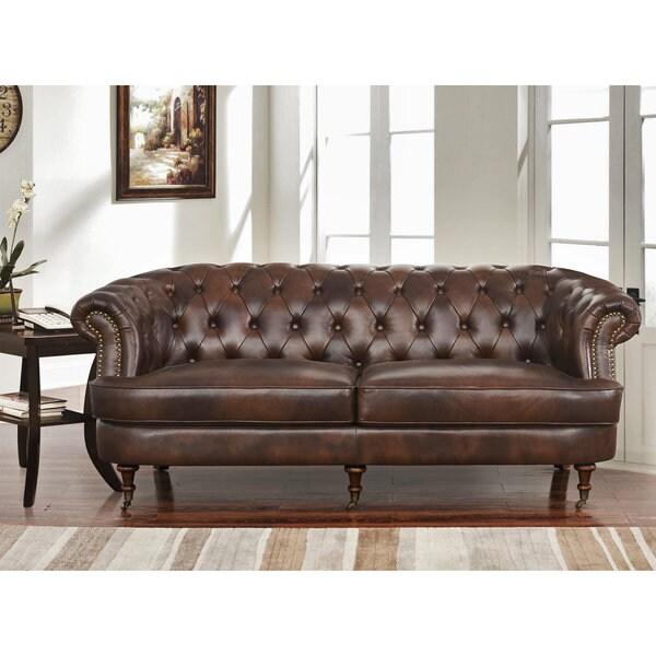 Shop Abbyson Montego Top Grain Leather Tufted Sofa