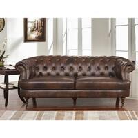 Abbyson Montego Top Grain Leather Tufted Sofa