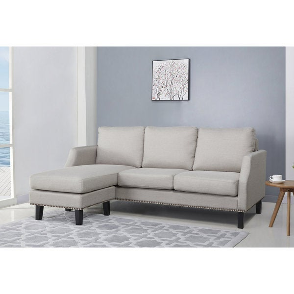 Abbyson Henry Light Grey Reversible Sofa Sectional  sc 1 st  Overstock.com : henry sectional - Sectionals, Sofas & Couches
