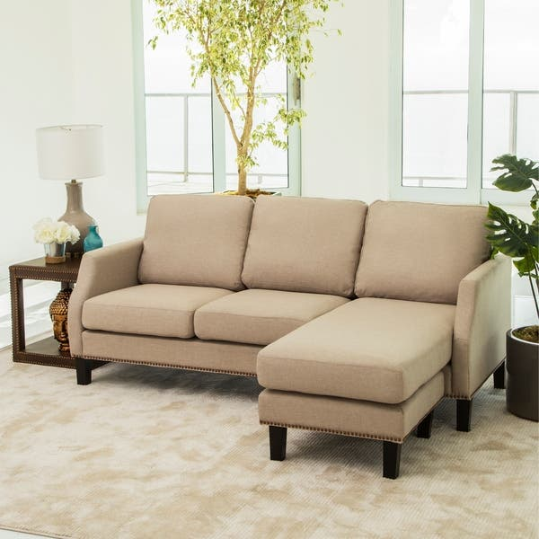 Shop Abbyson Henry Beige Fabric Reversible Sectional Sofa ...