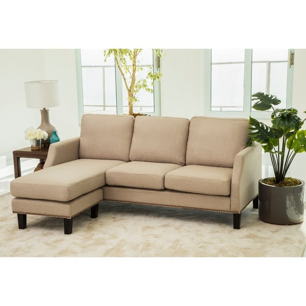 Shop Abbyson Henry Beige Reversible Sofa Sectional On
