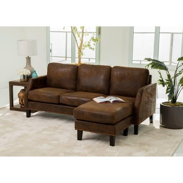 Prime Shop Abbyson Henry Dark Brown Reversible Sofa Sectional Inzonedesignstudio Interior Chair Design Inzonedesignstudiocom