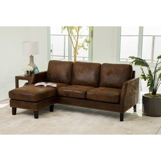 Abbyson Henry Dark Brown Reversible Sofa Sectional  sc 1 st  Overstock.com : sectional sofas with bed - Sectionals, Sofas & Couches
