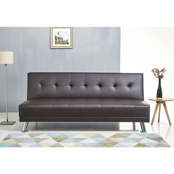 Abbyson Lexi Dark Brown Leather Sofa Bed