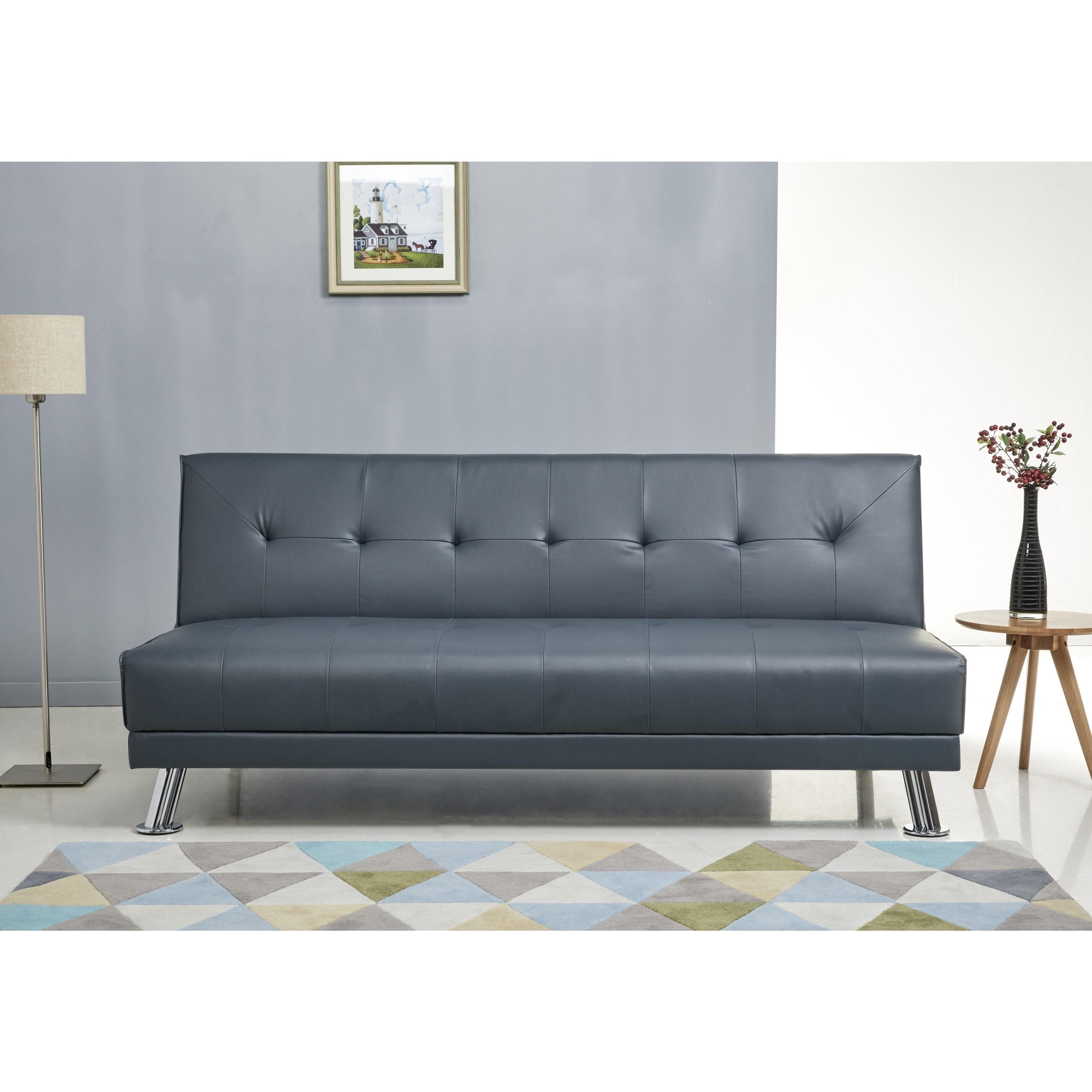 Gentil Carson Carrington Karlskoga Steel Blue Leather Sofa Bed