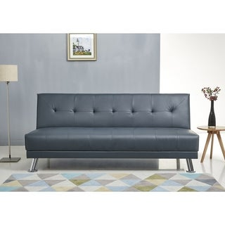 ABBYSON Lexi Steel Blue Leather Sofa Bed