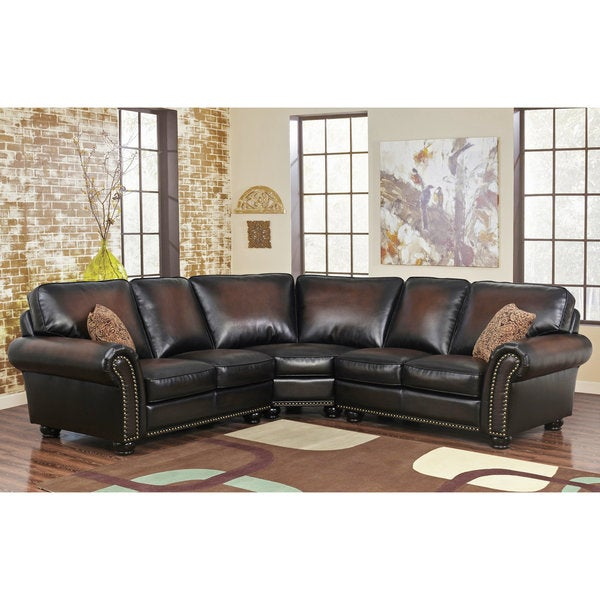 Shop Abbyson Melrose Bonded Leather 3 Piece Sectional On