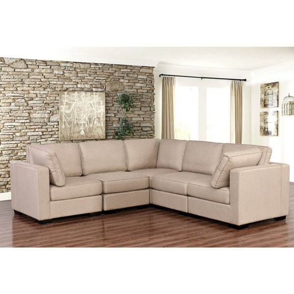 Abbyson Harper Fabric Modular 5piece Sectional Free Shipping
