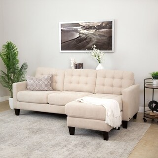 Abbyson Easton Beige Fabric Reversible Sectional