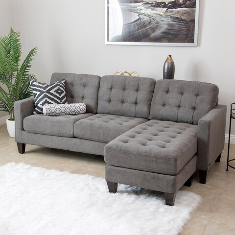 Abbyson Easton Grey Fabric Reversible Sectional Sofa