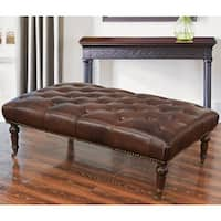 Abbyson Montego Top Grain Leather Tufted Ottoman