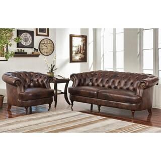 Abbyson Montego Top Grain Leather Tufted 2 Piece Sofa and Armchair Set