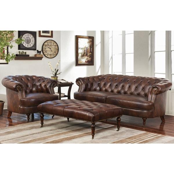 Leather Ottomans Set Of Three ~ Shop abbyson montego top grain leather tufted piece sofa