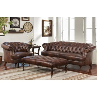 Abbyson Montego Top Grain Leather Tufted 3-piece Sofa, Armchair, and Ottoman Set