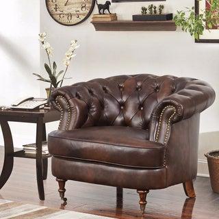 Abbyson Montego Top Grain Leather Tufted Chair