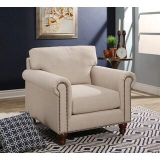 Abbyson Bella Ivory Fabric Armchair
