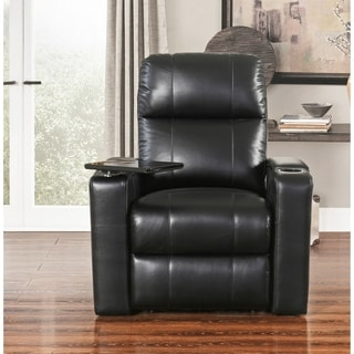 Abbyson Rider Black Leather Theatre Recliner