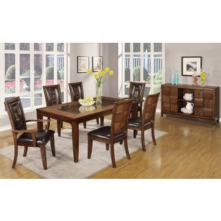 Calais 7 Piece Parquet Finish Solid Wood Dining Table with 6 Chairs, Walnut