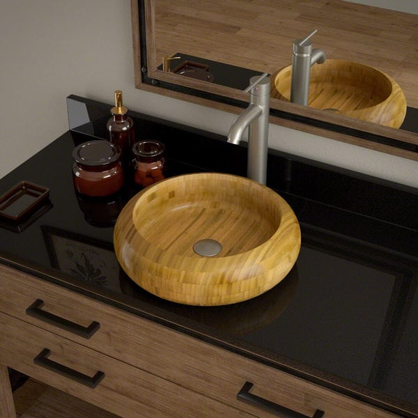 Shop 893 Bamboo Vessel Bathroom Sink with Faucet and Pop-Up Drain in ...