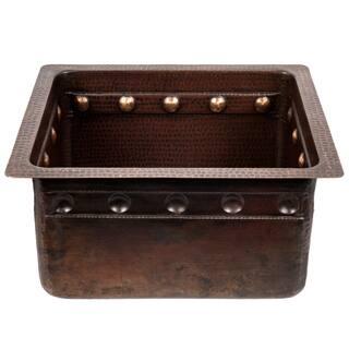 16-inch Gourmet Rectangular Hammered Copper Bar/Prep Sink w/ Barrel Strap Design