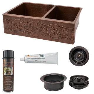 33-inch Hammered Copper Kitchen Apron 60/40 Double Basin Sink w/ Scroll Design with Matching Drains, and Accessories
