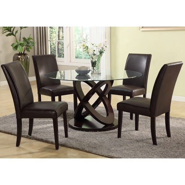 Cicicol 5 Piece Glass Top Dining Table With Chairs, Espresso