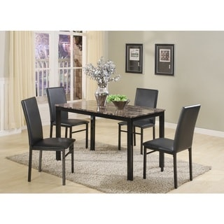 Citico 5 Piece Metal Dinette Set with Laminated Faux Marble Top, Black