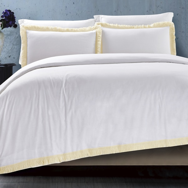 Fringes White Cotton Duvet Cover Set