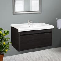 Charcoal Wall Hung 32 inch Wide Vanity Cabinet with Fireclay Basin