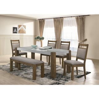 Costabella 6 PC Dining Set, Table with 4 chairs and Dining Bench