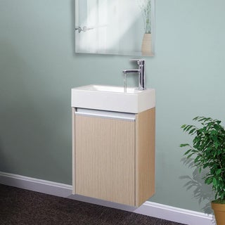 Light Bamboo Wall Hung 17.75 inch Wide Vanity Cabinet with Fireclay Basin
