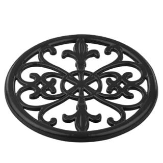 Sweet Home Collection Cast Iron Fleur De Lis Trivet- Black