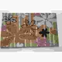 Modern Daisies Multicolor Coir Doormat