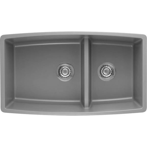 Shop Blanco Performa Undermount Metallic Grey Granite Kitchen Sink ...
