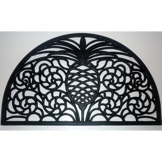 Pineapple Scroll Black Rubber Doormat
