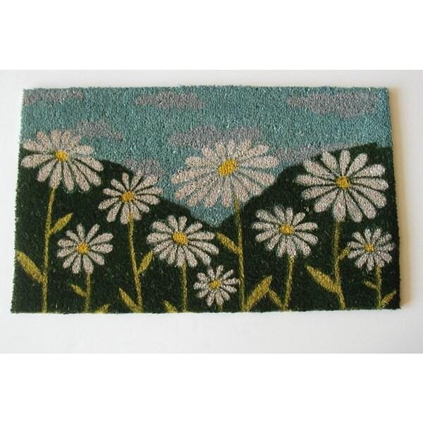 White Daisy Multicolor Coir Doormat