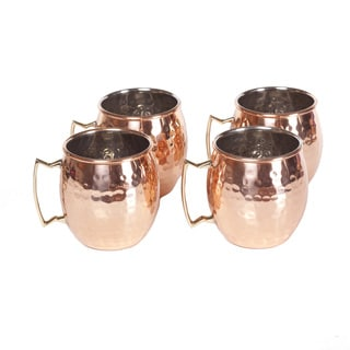 Handmade Set of 4 Round Hammered Copper Mugs (India)