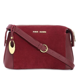 Phive Rivers Women's Leather Crossbody Bag (Red, PR1291)