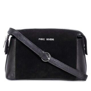 Handmade Phive Rivers Women's Leather Crossbody Bag (Black, PR1290) (Italy)