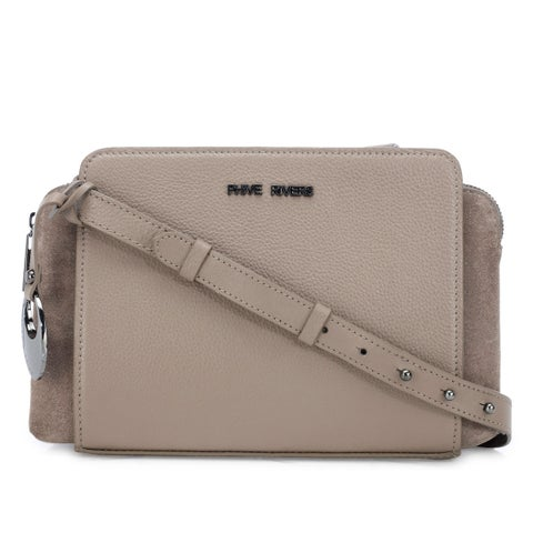 Handmade Phive Rivers Women's Grey Leather Crossbody Bag (Italy)