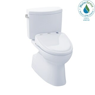 Toto Connect+ Kit Vespin II Two-Piece Elongated 1.28 GPF Toilet and Washlet S350e Bidet Seat MW474584CEFG#01 Cotton White