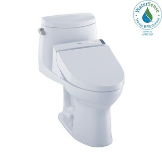Toto Connect+ Kit UltraMax II One-Piece Elongated 1.28 GPF Toilet and Washlet C200 Bidet Seat MW6042044CEFG#01 Cotton White
