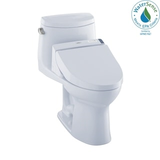 Toto WASHLET+ Kit UltraMax II 1-Piece Elongated 1.28 GPF Toilet and WASHLET C200 Bidet Seat, Cotton White (MW6042044CEFG#01)