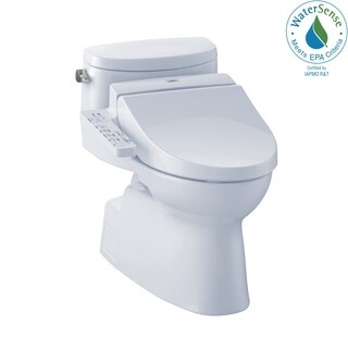 Toto Connect+ Kit Carolina II One-Piece Elongated 1.28 GPF Toilet and Washlet C100 Bidet Seat MW6442034CEFG#01 Cotton White