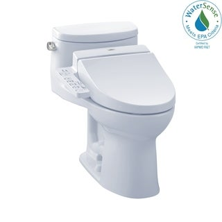 Toto Connect+ Kit Supreme II One-Piece Elongated 1.28 GPF Toilet and Washlet C100 Bidet Seat MW6342034CEFG#01 Cotton White