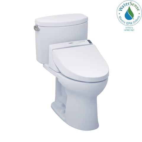 Toto WASHLET+ Kit Drake II Two-Piece Elongated 1.28 GPF Toilet and WASHLET C200 Bidet Seat, Cotton White (MW4542044CEFG#01)