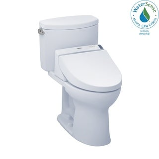 Toto Connect+ Kit Drake II Two-Piece Elongated 1.28 GPF Toilet and Washlet C200 Bidet Seat MW4542044CEFG#01 Cotton White