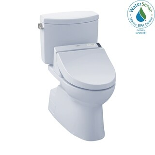 Toto Connect+ Kit Vespin II Two-Piece Elongated 1.28 GPF Toilet and Washlet C200 Bidet Seat MW4742044CEFG#01 Cotton White