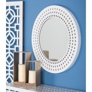 Urban Designs White Lacquered 31-Inch Round Wall Mirror